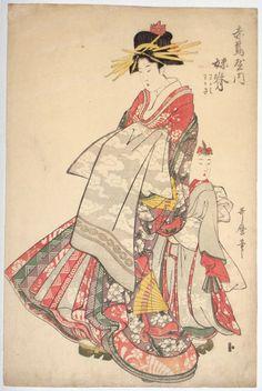 The courtesan Imose of the Yoshiwara House Akatsuta-ya parading with her kamuro