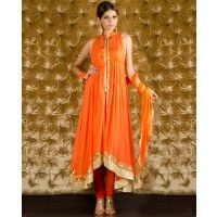 Orange Sleeveless Suit with Gota Border