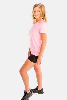 37922d08d98bd Make your running sessions even more fun and effective with these range of  baby pink V-neck tee for women from Alanic Activewear.