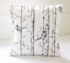 grey decorative pillow cover birds trees, woodland gray cushion cover 16 inch