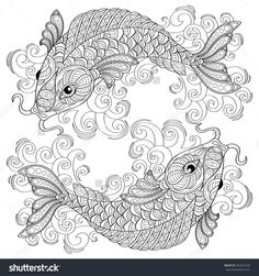 koi fish chinese carps pisces adult antistress coloring page black and white - Fish Coloring Pages For Adults