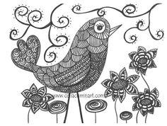 Funky Bird Fine Art PRINT 8 x 10 Black & White by celiacurrin, $14.00