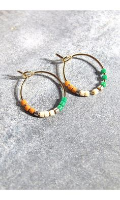 Tassia Canellis mini-créoles Maya vert/ocre #tassiacanellis #earrings #boucles #creoles #hoops #hoopearrings #vert #green #madeinfrance #handmade