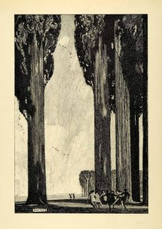 1920 Print Franklin Booth Artwork Nude Dance Circle Trees Illustration XDA7