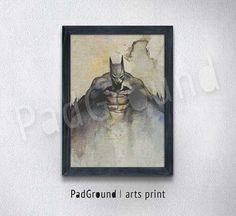 Batman Art Print, Arkham Knight, Comic, Canvas Print, Personalized Art Print, Cloth Art Print , Natural Linen Print Art with Frame -BM39
