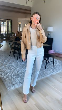 Love this outfit- From the white wide legged jeans to the cream colored bodysuit. I am all about the neutral and nude colors they are so flattering and still work well for spring and you could definetly transition these into fall attire. Still Working, Nude Color, Wide Leg Jeans, Bodysuit, Outfits, Style, Onesie, Swag, Suits