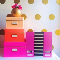 Shelf styling 101 // Kate Spade decor // girly glam office tour // Urban Walls gold foil polka dot decals