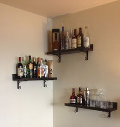 Building some DIY corner shelves might be a great idea for your next weekend project. Corner shelves are a smart solution for your small space. If you want to have shelves but you don't want to be too much on . Interior Design Projects, Shelves, Floating Corner Shelves, Bar Shelves, Diy Corner Shelf, Bars For Home, Home Interior Design, Rack Design, Shelving