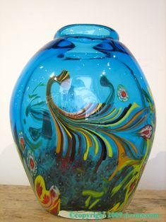 Italian Murano Art Glass Vase with blue floral design, made in Italy in the 20th Century