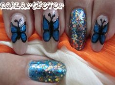 Glitzy butterfly nails ! by nailartfever - Nail Art Gallery nailartgallery.nailsmag.com by Nails Magazine www.nailsmag.com #nailart