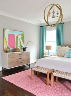 #PineConeHill's Parama bedding and #DashandAlbert's Fair Isle Red/Ivory rug featured here on Young House Love!