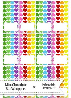 Rainbow Hearts Mini Chocolate Bar Wrappers from PrintableTreats.com