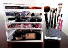 Check out these beauty storage ideas - http://dropdeadgorgeousdaily.com/2014/02/how-to-organise-your-perfumes/