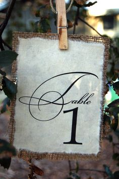 Reserve Listing for Erica Ngo (ericango) Rustic Burlap Table Number - Barn Wedding Table Numbers. $27.00, via Etsy.