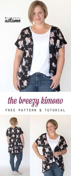 The best DIY projects & DIY ideas and tutorials: sewing, paper craft, DIY. DIY Clothing & Tutorials this easy to sew DIY women's kimono comes together in less than an hour with just one yard of fabric using a free tee Sewing Basics, Sewing For Beginners, Sewing Hacks, Sewing Tutorials, Sewing Tips, Sewing Projects, Sewing Ideas, Knitting Projects, Sewing Patterns Free