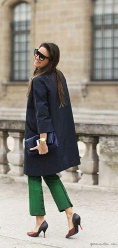 Green pants, dark blue coat, pouch, wide shades, tricolor pumps / Garance Doré