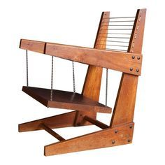 Pallet Furniture Projects Modern Wooden Hanging Chair - An important part of design history. We are currently researching this chair to find out more about its origins. This piece is attributed to Pierre Jeanneret and has not yet been authenticated. Wooden Pallet Projects, Wooden Pallet Furniture, Wooden Pallets, Rustic Furniture, Diy Furniture, Modern Furniture, Furniture Stores, Pallet Wood, Pallet Seating