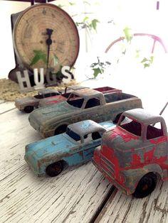 Christmas Decorations Using Vintage Toy Trucks