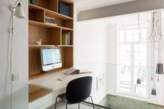 Contemporary office area with a fold-down desk
