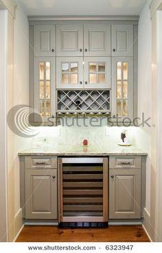 Butlers Pantry Built In Wine Rack, Built In Bar, Built Ins, Built In Pantry, Kitchen Pantry, New Kitchen, Kitchen Cabinets, Gray Cabinets, Kitchen Decor