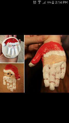 Childrens christmas santa handprints