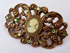Large cameo hair clip in green-gold - pinned by pin4etsy.com