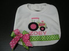 Girly Appliqued Tractor Bib with free by TwoTeacupsAndaMudPie, $8.99