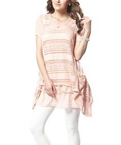 This Simply Couture Pink Lace Sidetail Tunic by Simply Couture is perfect! #zulilyfinds