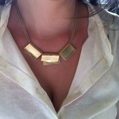 Statement gold necklace, statement jewelry, Leather and gold,  statement modern jewelry, Modern gold necklace, Boho shic necklace on Etsy, $75.00