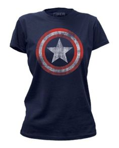 Amazon.com: TeeShirtPalace Women's Captain America Incredible Distressed Shield Marvel T-Shirt: Clothing