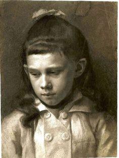Gustav Klimt  -  Portrait of a Girl, Head Slightly Turned Left - 1879
