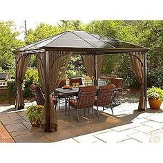 Costco Aluminum Gazebo | 20and 20bbq Gazebos Sunjoy 13 Ft X 14 Ft Royal  Octagon Hardtop
