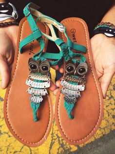 Boho Repurposed Braided Owl Sandals Turquoise by hintofsunshine, $25.00