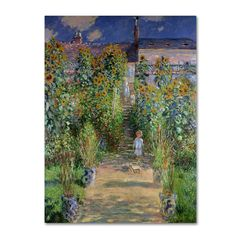 The Artist's Garden at Vetheuil by Claude Monet Painting Print on Canvas