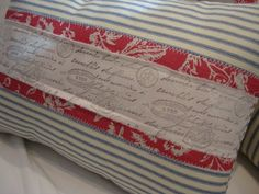 Paris French Red DOWN & Feather Cottage Shabby Chic Linen Toile French Script and Ticking Pillow $39.00