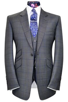 Steel Grey three piece suit with cobalt blue over-check