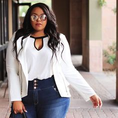 "Official Fashion to Figure on Instagram: ""Stylist Tip: A crop top isn't the only thing you can wear with high-waisted jeans. For a fall update tuck in full-length tops and add a blazer or jacket #FTFStylist Share your favorite denim style tips below. #FTFDenim"""