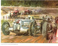 Italian Grand Prix, Monza, September 9, 1934. {Note the cars going through a chicane at the bottom of the banking, to reduce the speeds attained} Painting by Walter Gotschke, ®1968 Automobile Quarterly Magazine.