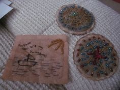 I hurt my back today so instead of gardening I have embroidered a few more teabags. The little boat has caused me a ton of grief though as I have had to unpick it several times. The round teabags still have the tea leaves in as I think it gives it a bit more shape.