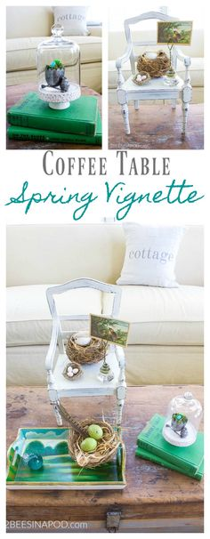Spring Coffee Table Vignette With Nests. Spring vignette. vignette with bird nests. Vintage vignette.