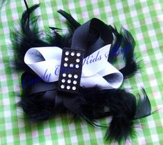 Black & White Cat/Dog Outfit Girls 3T NEW Custom Boutique Ruffled Set & Domino Hair Bow with black feathers. $8.50 for the set. For sale now on ebay. Search ebay for item number - 190833202432