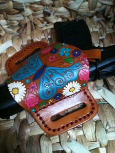 Handmade & GORGEOUS Leather Gun Holster - Automatic or Revolver - Womens - Hand Painted - Cowgirl on Etsy, $75.00