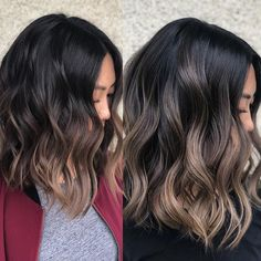That's why I'm so obsessed with DIMENSION color. left pic is when she came back for toner after her first balayage session with me, 4 month… color ideas for brunettes Brown Hair Balayage, Balayage Brunette, Hair Color Balayage, Hair Highlights, Black Balayage, Brown Highlights On Black Hair, Ash Brunette, Short Balayage, Blonde Hair