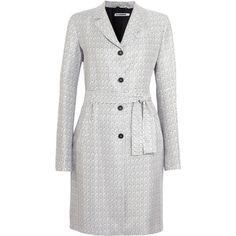 Jil Sander Tweed coat ($564) ❤ liked on Polyvore featuring outerwear, coats, jackets, navy, long coat, jil sander coat, navy blue coats, jil sander and tweed coats
