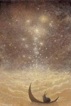 """Star Falls"" - another by Toshio Ebine. How... does he do these!? *peers intently* Anyway, I love the light he gets - this is just wonderful. Bunny!"