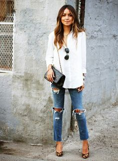 Animal-print shoes add a fun element to a the classic jeans and white shirt