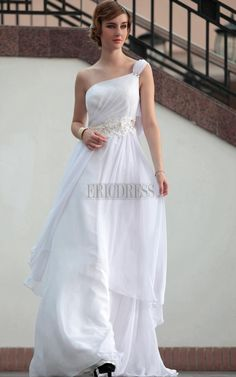 Fancy A-line One-shoulder Floor-length Prom Party Dress Wedding Dress  Chiffon b2cd95bf0804