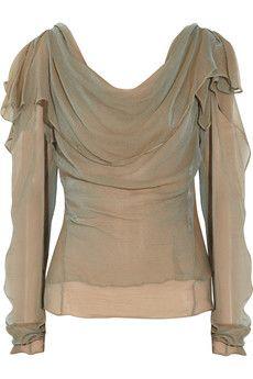Donna Karan iridescent silk georgette blouse