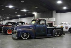 large diameter solid steel wheels with beauty rings under a slammed 1947 1948 1949 1950 1951 Chevrolet Advanced Design pickup truck with a five window cab and finished in a patina blue and satin clear coat. 54 Chevy Truck, Chevy 3100, Classic Chevy Trucks, Chevy Pickups, Chevrolet Trucks, Trucks Only, Ford Trucks, Detroit Steel Wheels, Vintage Pickup Trucks