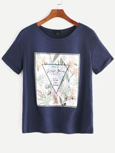 8b0fc7340067ee Shop Graphic Print Short Sleeve T-shirt online. SheIn offers Graphic Print  Short Sleeve T-shirt & more to fit your fashionable needs.